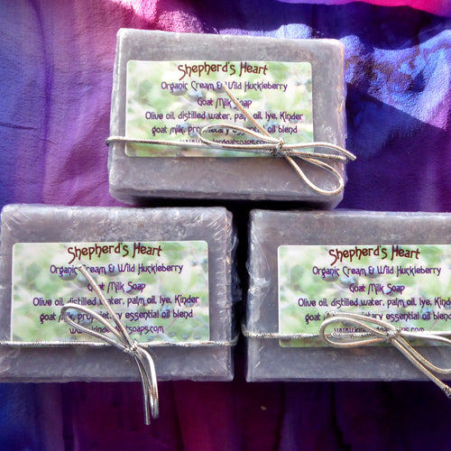Organic Cream and Wild Huckleberry Kinder Goat Milk Soap