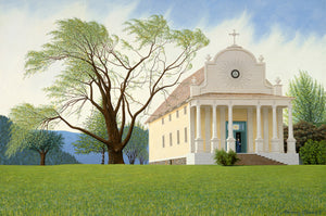 Thomas Clements Art of the Oldest Building in Idaho, the Mission of the Sacred Heart at Cataldo Idaho.