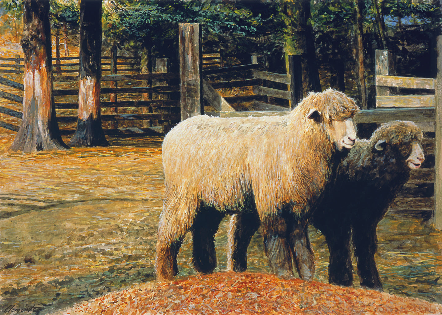 Two Ewe Sheep in Rainy Barnyard Painting Giclée Print