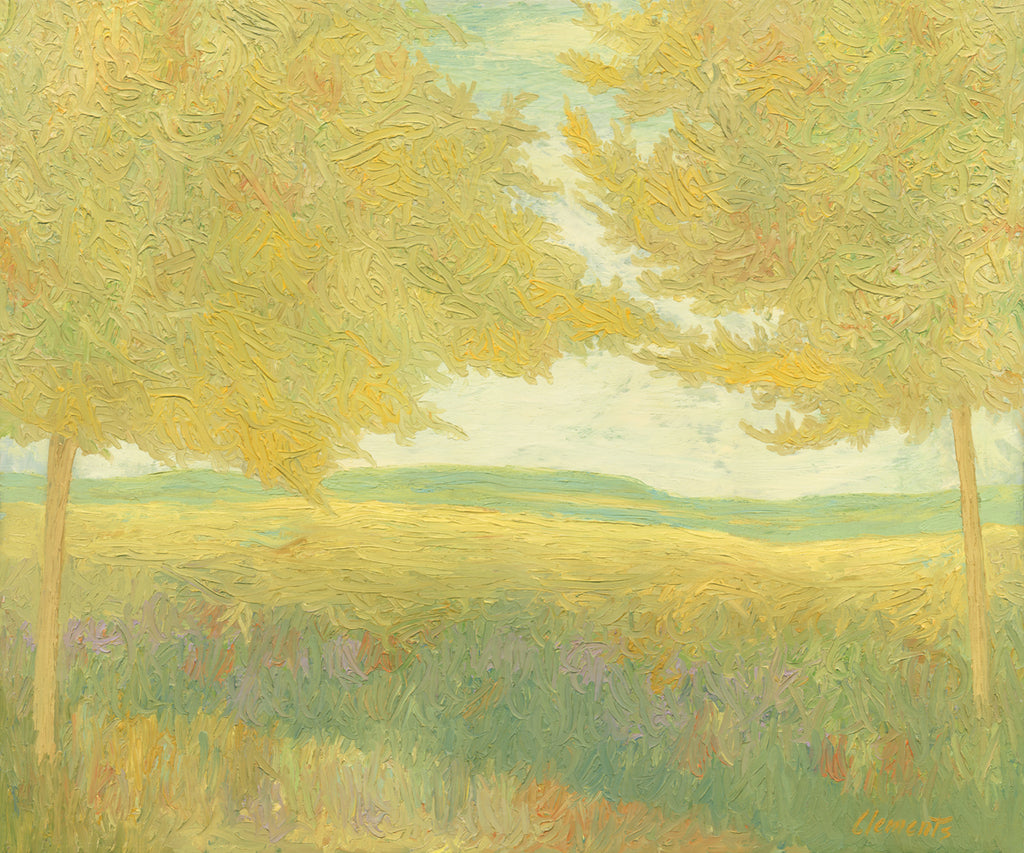 Yellow Impressionistic Summer Trees Painting Giclée Print