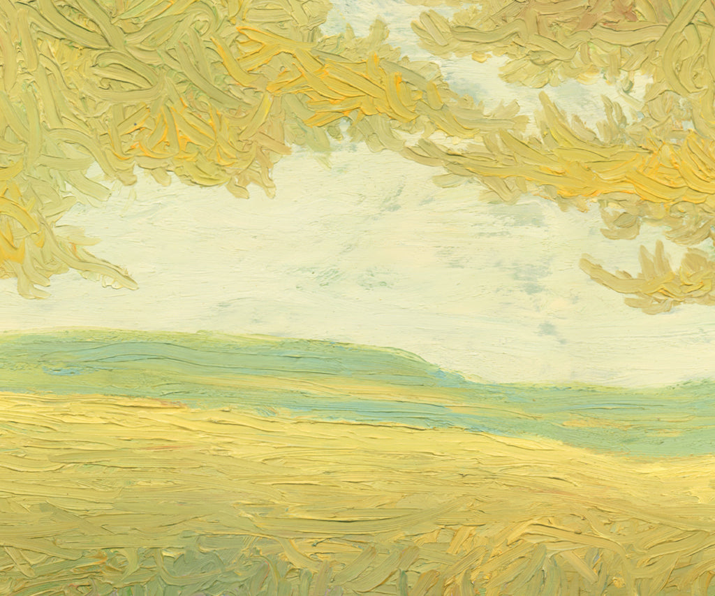 Yellow Impressionistic Summer Trees Painting Giclée Print Crop 1