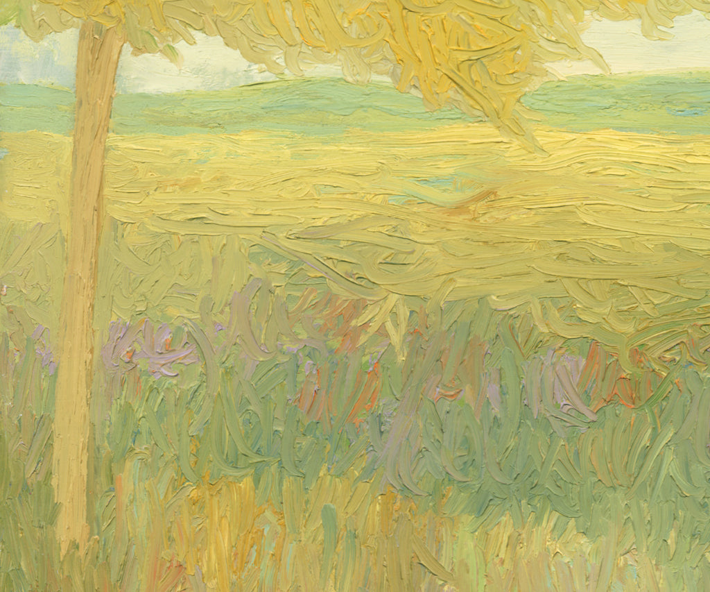 Yellow Impressionistic Summer Trees Painting Giclée Print Crop 2