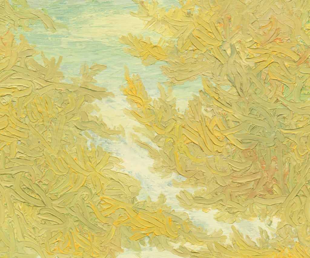 Yellow Impressionistic Summer Trees Painting Giclée Print Crop 3