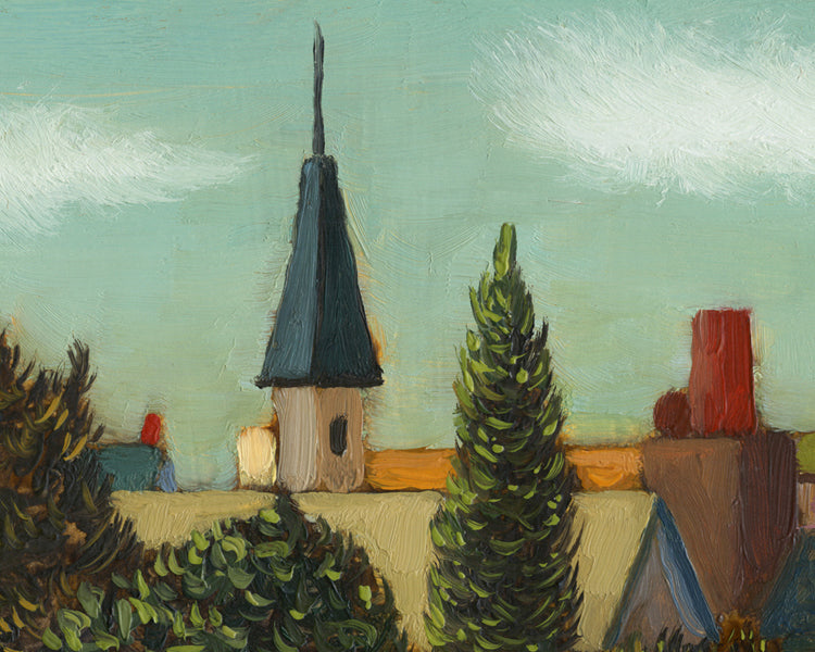Colorful Small Town Neighborhood Painting Giclée Print Crop 1
