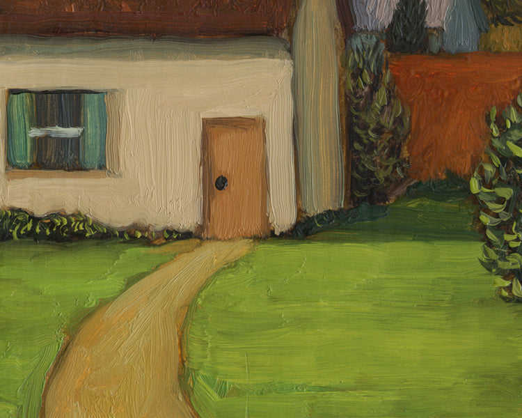 Colorful Small Town Neighborhood Painting Giclée Print Crop 2