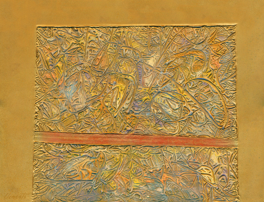 Gold Abstract Relief Painting Giclée Print