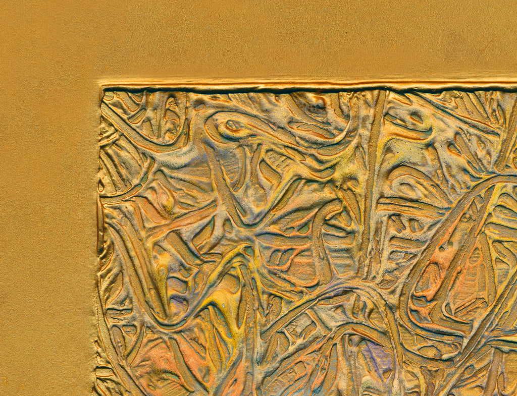 Gold Abstract Relief Painting Giclée Print Crop 2