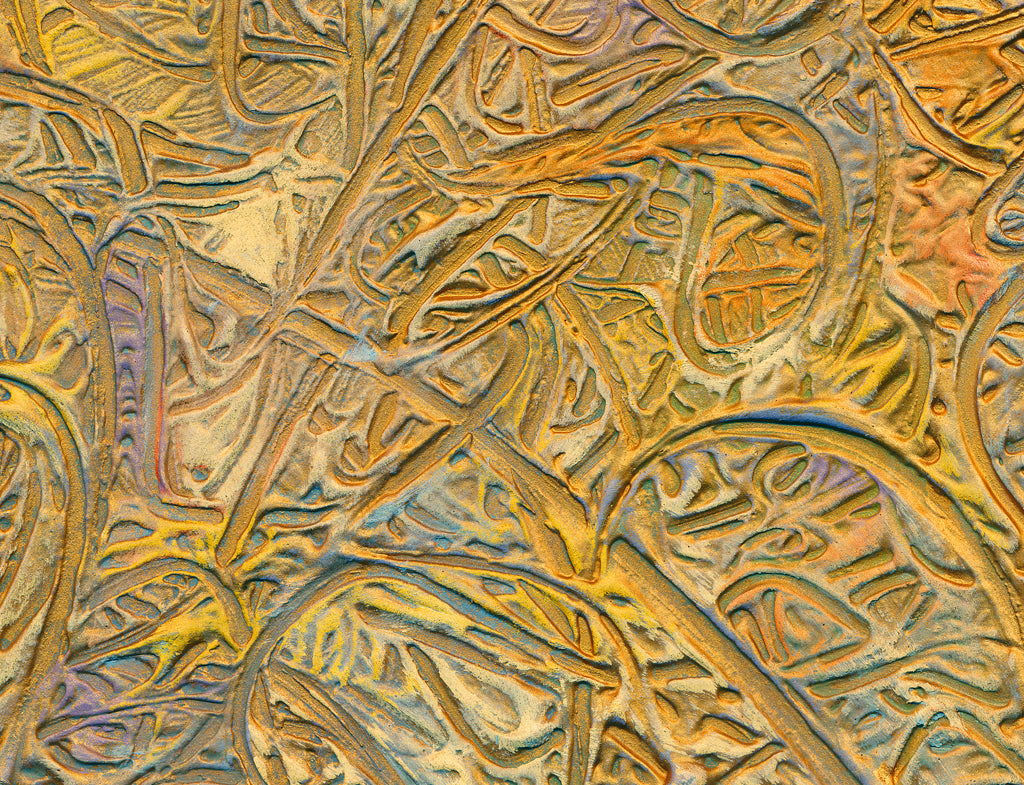 Gold Abstract Relief Painting Giclée Print Crop 3
