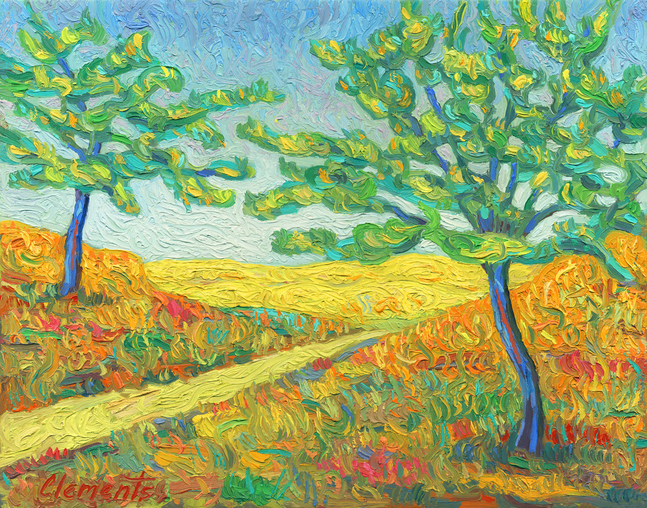 A Road and Two Trees Childlike Colorful Painting Giclée Print