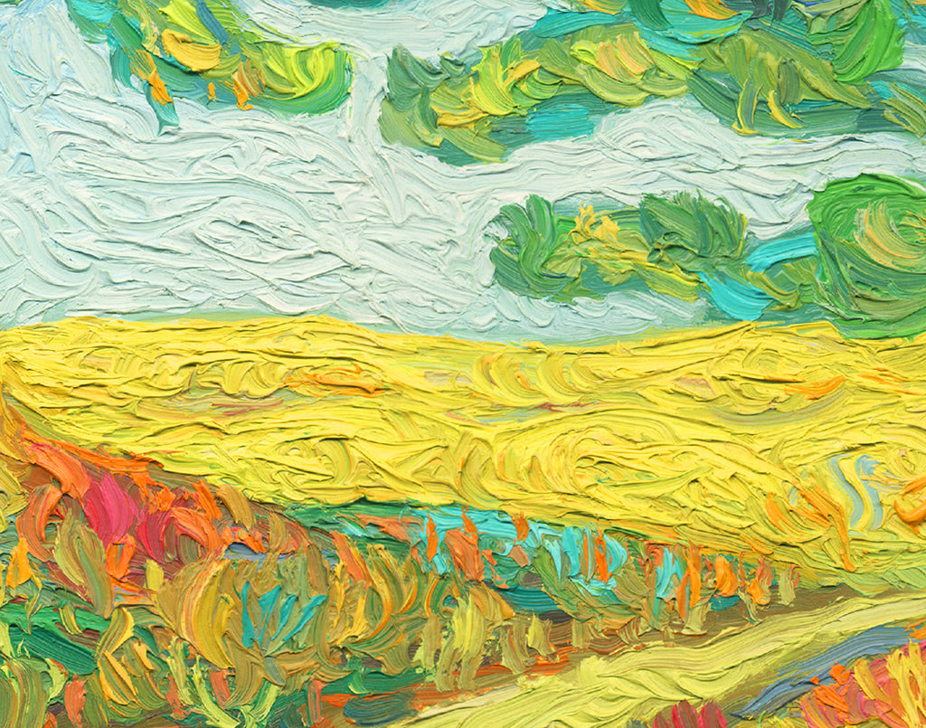 A Road and Two Trees Childlike Colorful Painting Giclée Print Crop 1
