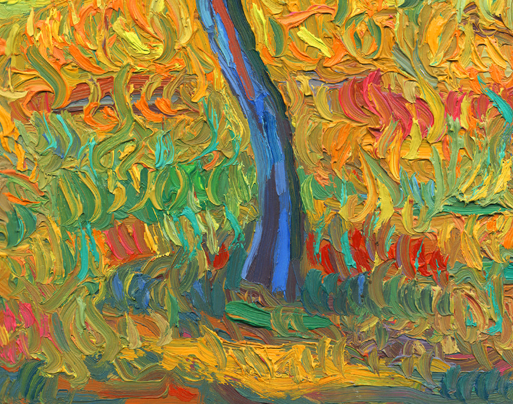 A Road and Two Trees Childlike Colorful Painting Giclée Print Crop 3