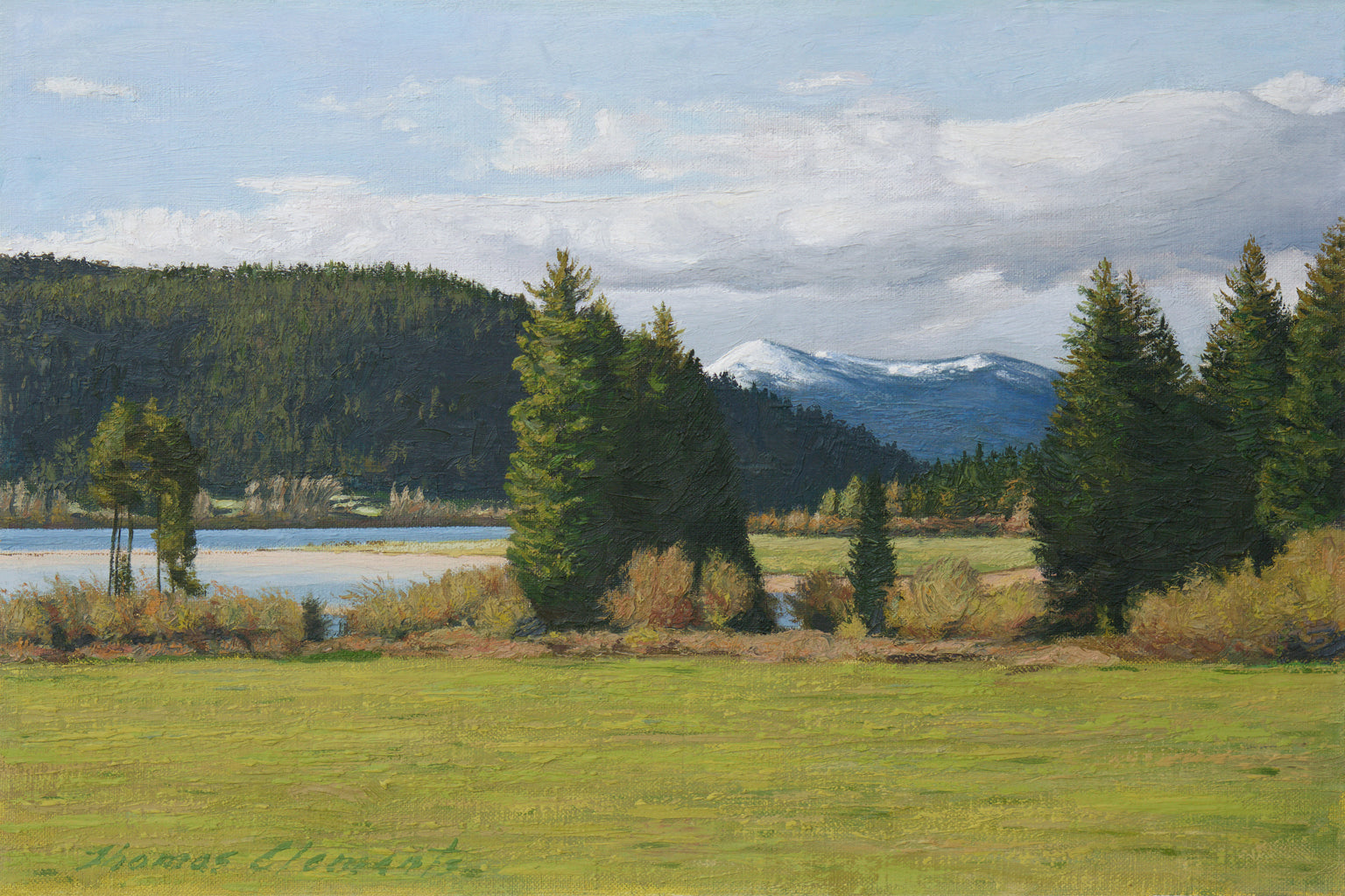 Pend Oreille River With Snowy Mountains Painting Giclée Print
