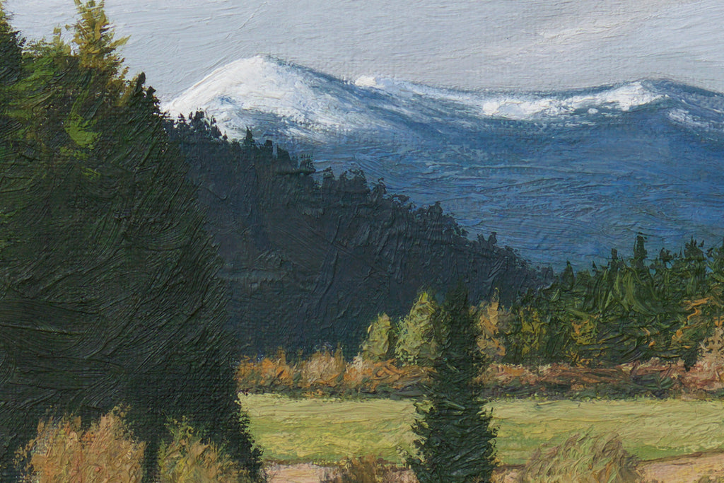 Pend Oreille River With Snowy Mountains Painting Giclée Print Crop 1