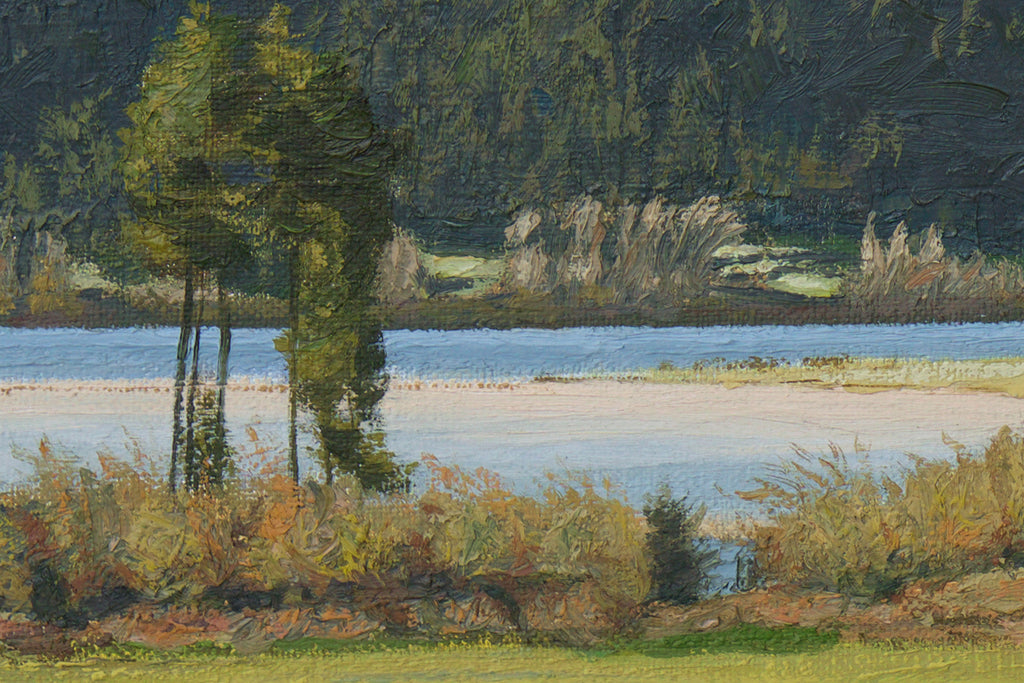 Pend Oreille River With Snowy Mountains Painting Giclée Print Crop 2