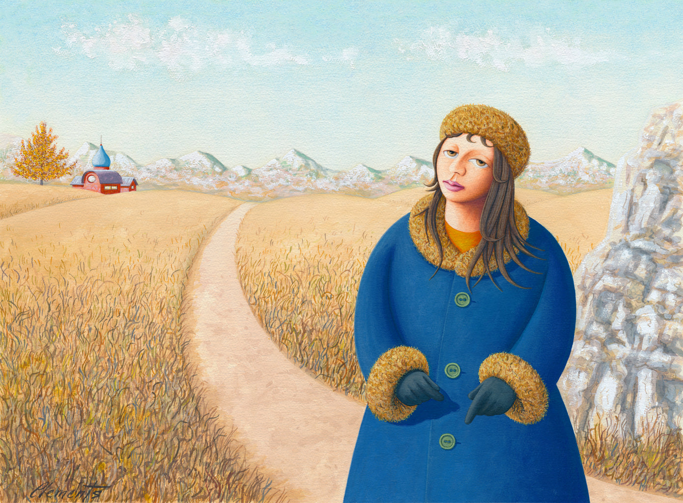 Girl in Mountain Field with House Painting Gicée Print