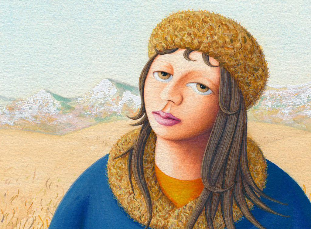 Girl in Mountain Field with House Painting Gicée Print Crop 1