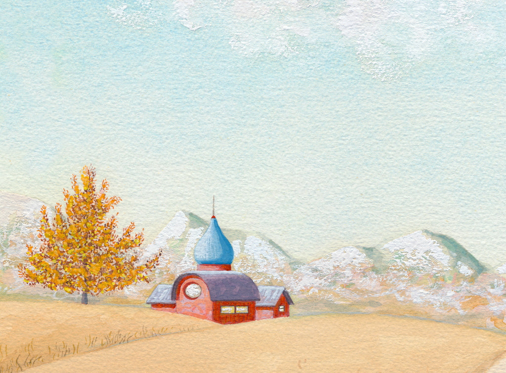 Girl in Mountain Field with House Painting Gicée Print Crop 2