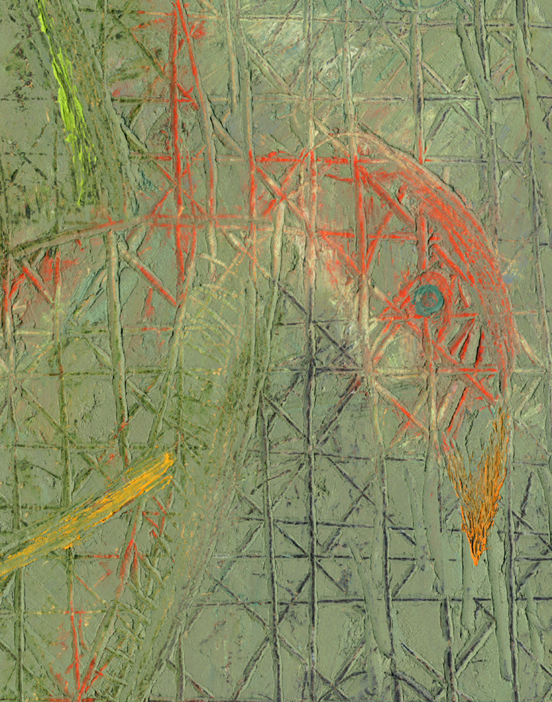 Abstract Primitive Green Relief Painting Giclée Print Crop 1