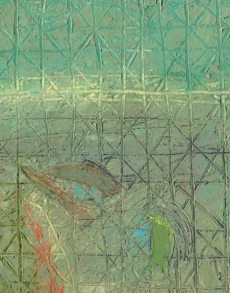 Abstract Primitive Green Relief Painting Giclée Print Crop 2
