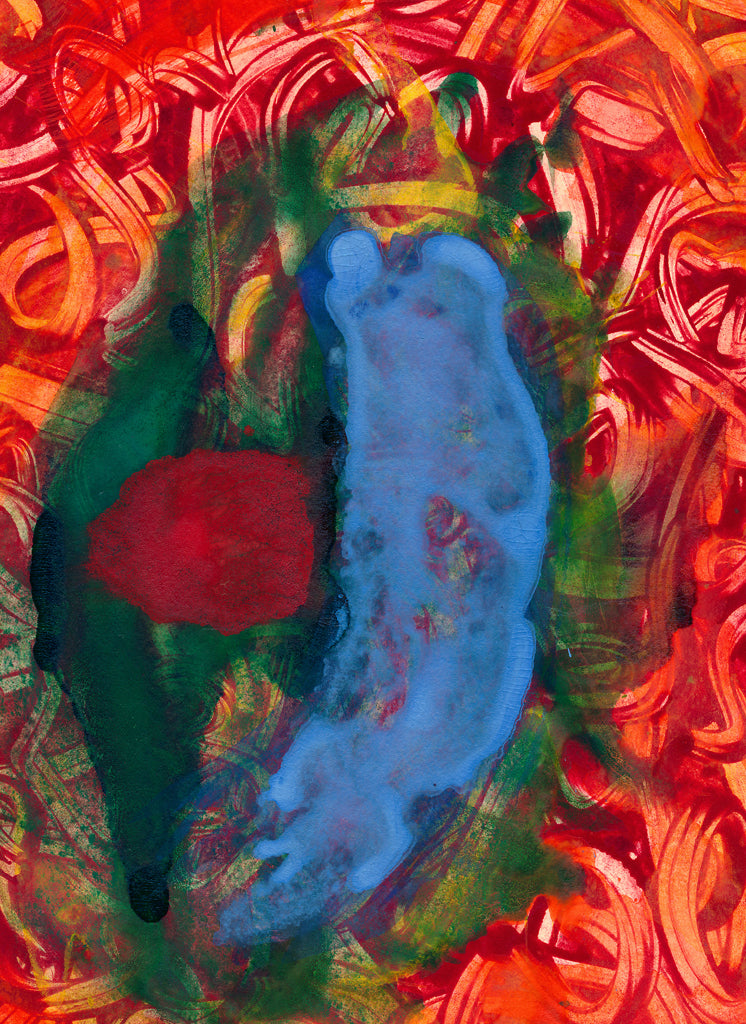 Bright Red Abstract Painting Giclée Print Crop 1
