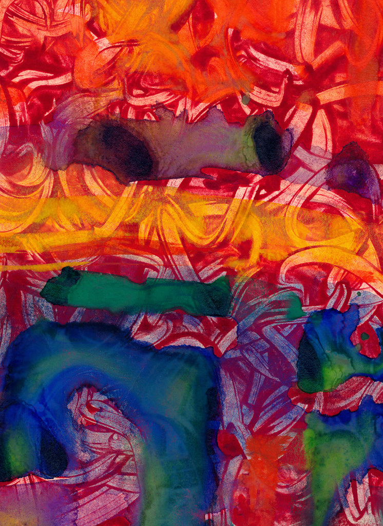 Bright Red Abstract Painting Giclée Print Crop 3