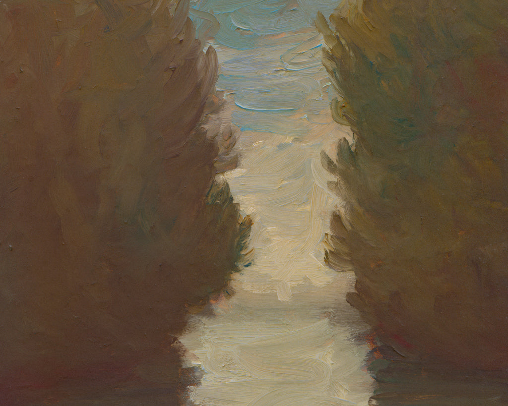 Cloudy Day Water Inlet With Trees Painting Giclée Print Crop 1