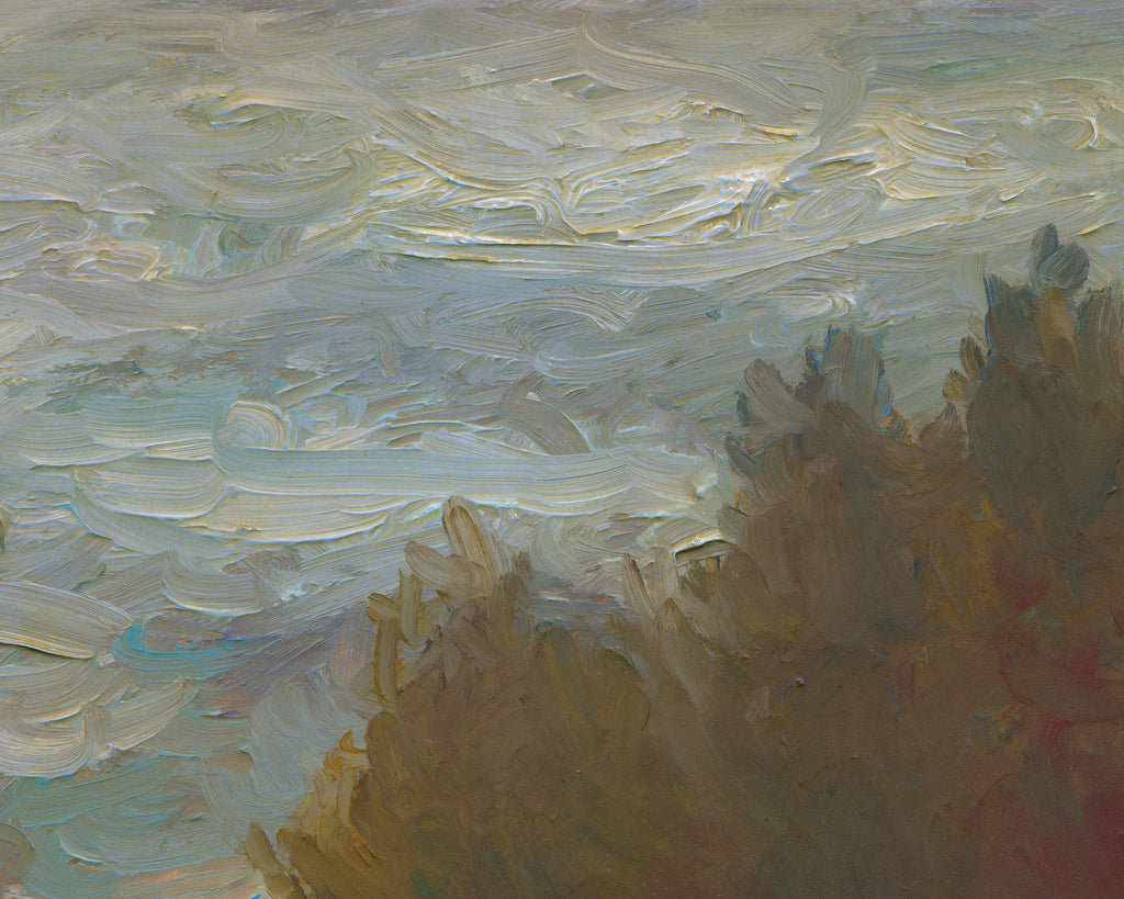 Cloudy Day Water Inlet With Trees Painting Giclée Print Crop 2