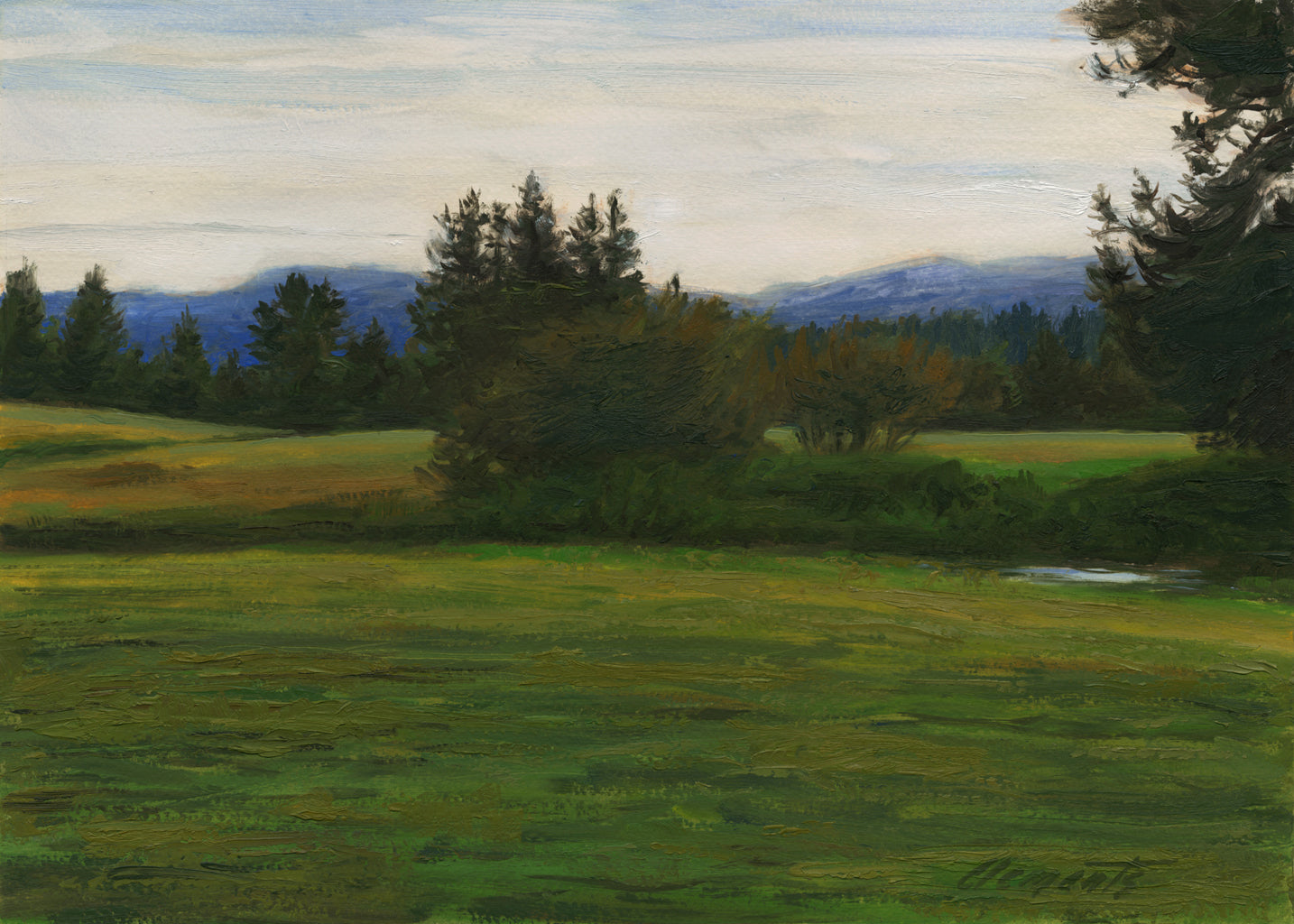 White Sky Green Landscape with Creek Painting Giclée Print
