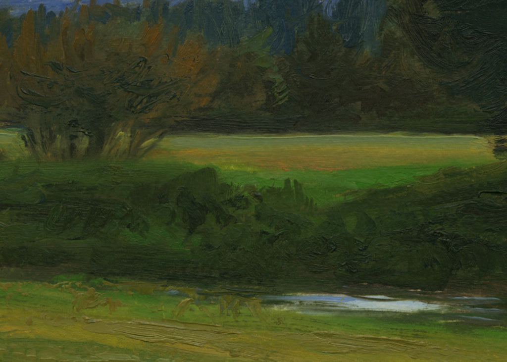 White Sky Green Landscape with Creek Painting Giclée Print Crop 2