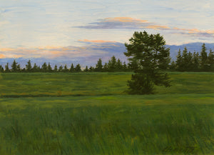 Sunset With Single Tree in Field Painting Giclée Print