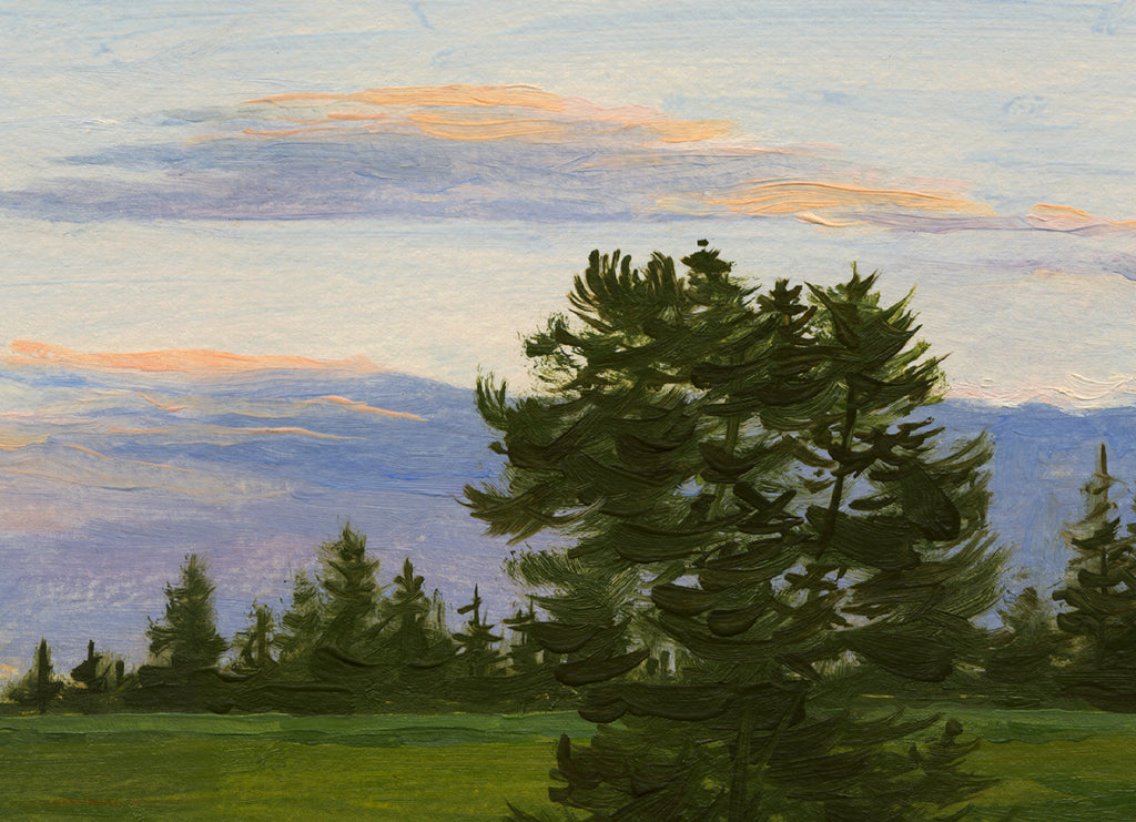 Sunset With Single Tree in Field Painting Giclée Print Crop 1