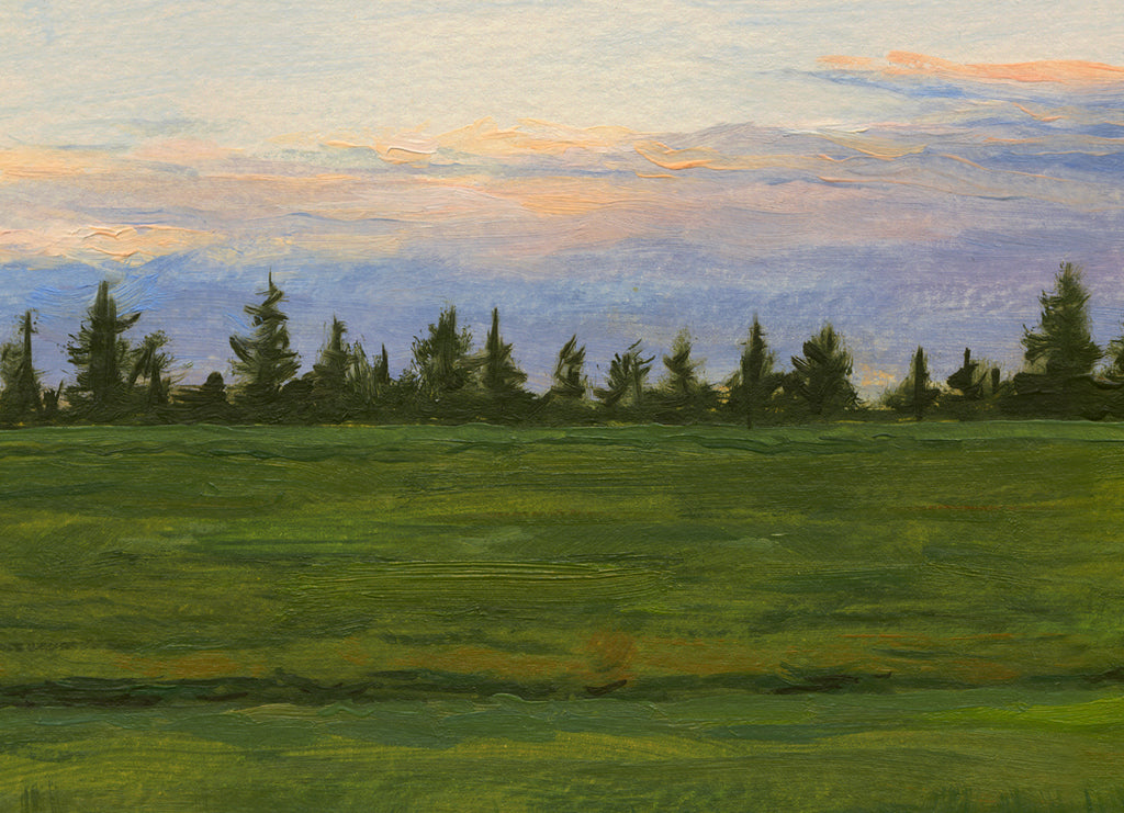Sunset With Single Tree in Field Painting Giclée Print Crop 2