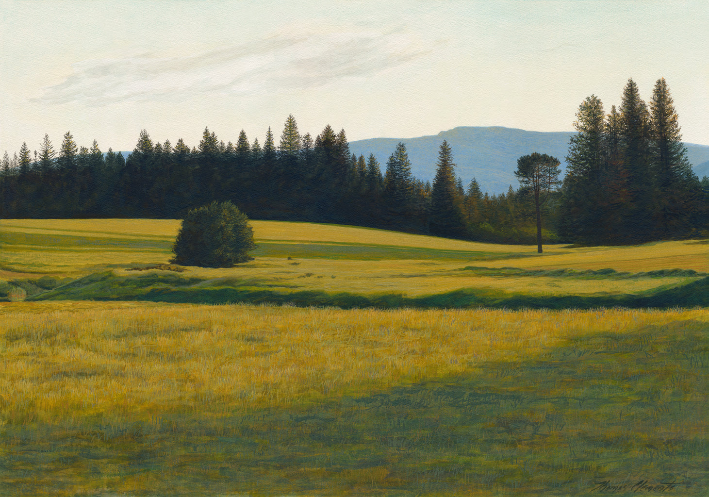 Green Pasture with Creek and Mountain Painting Giclée Print