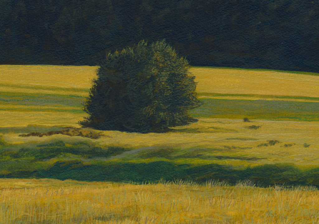 Green Pasture with Creek and Mountain Painting Giclée Print Crop 1