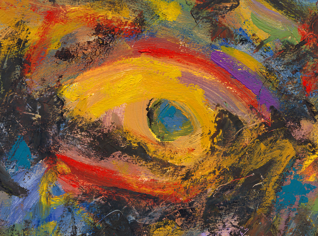 Dark Abstract Colorful Expressionistic Painting Giclée Print Crop 1