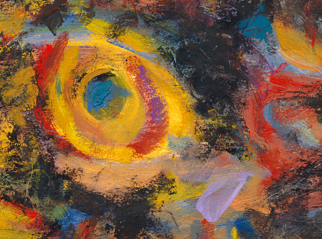 Dark Abstract Colorful Expressionistic Painting Giclée Print Crop 2