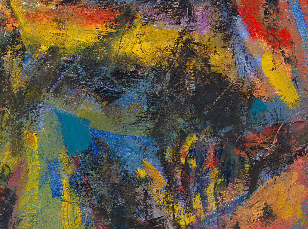 Dark Abstract Colorful Expressionistic Painting Giclée Print Crop 3