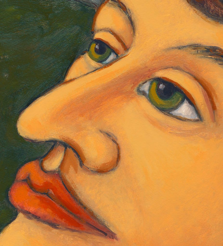 Woman at Dusk Looking Towards Sky Painting Giclée Print Crop 1