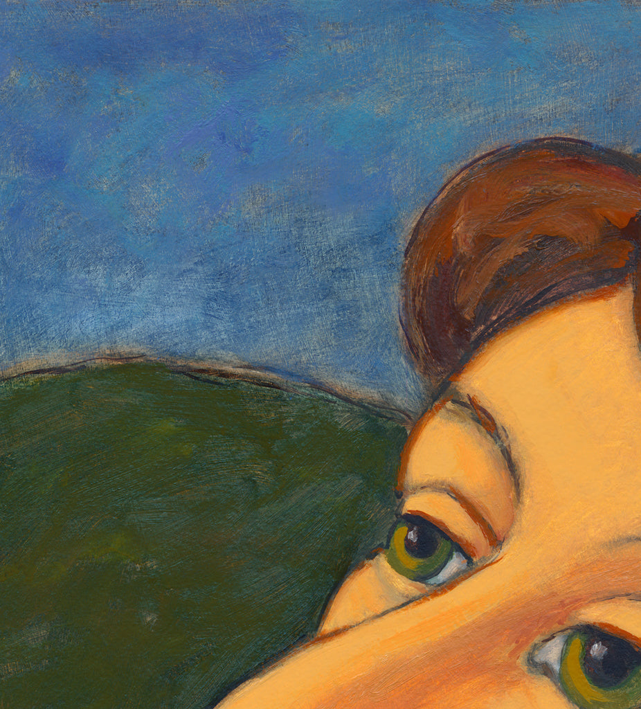 Woman at Dusk Looking Towards Sky Painting Giclée Print Crop 2