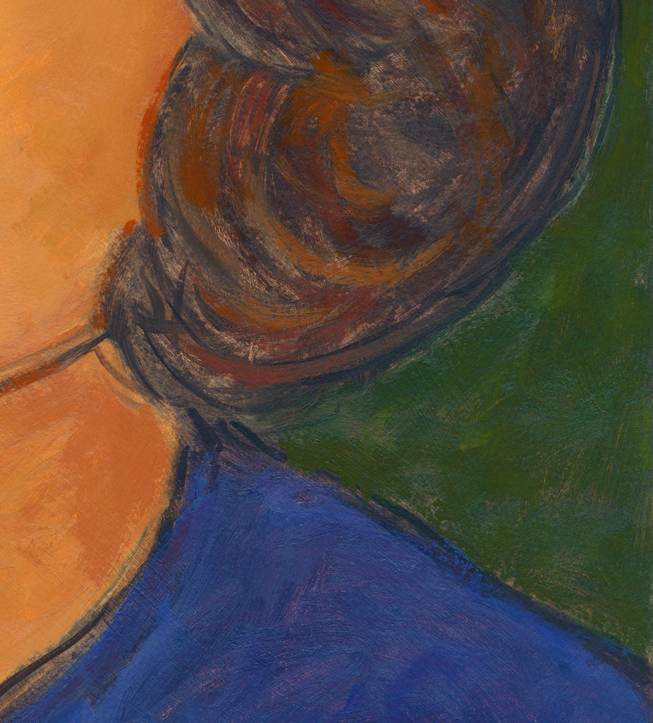 Woman at Dusk Looking Towards Sky Painting Giclée Print Crop 3