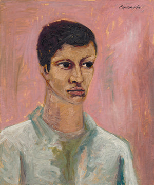 Expressionist Raw Man with Green Pink Painting Giclée Print