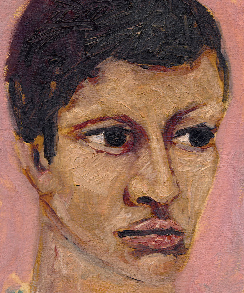 Expressionist Raw Man with Green Pink Painting Giclée Print Crop 1