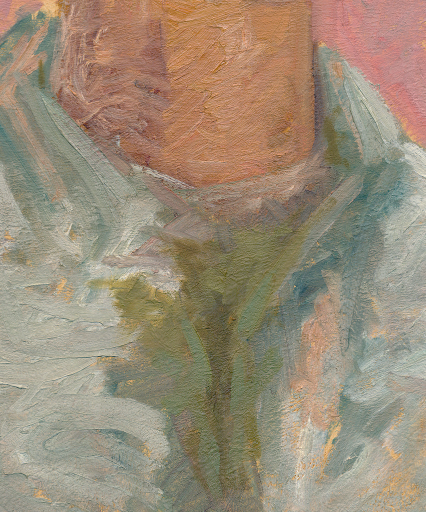 Expressionist Raw Man with Green Pink Painting Giclée Print Crop 3