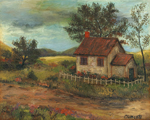 ImagImaginary Fenced House Along a Country Road Painting Giclée Print