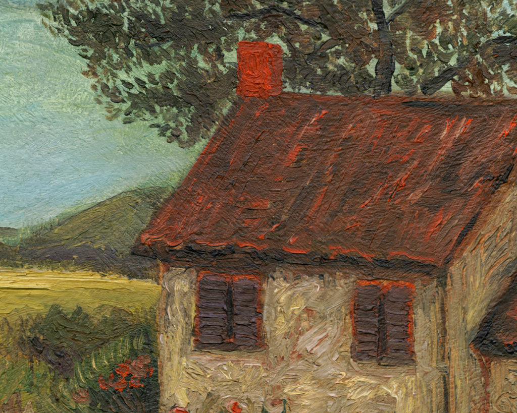 ImagImaginary Fenced House Along a Country Road Painting Giclée Print Crop 1