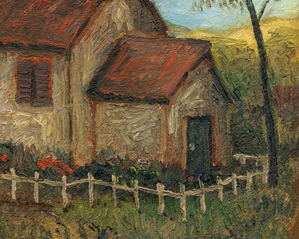 ImagImaginary Fenced House Along a Country Road Painting Giclée Print Crop 2