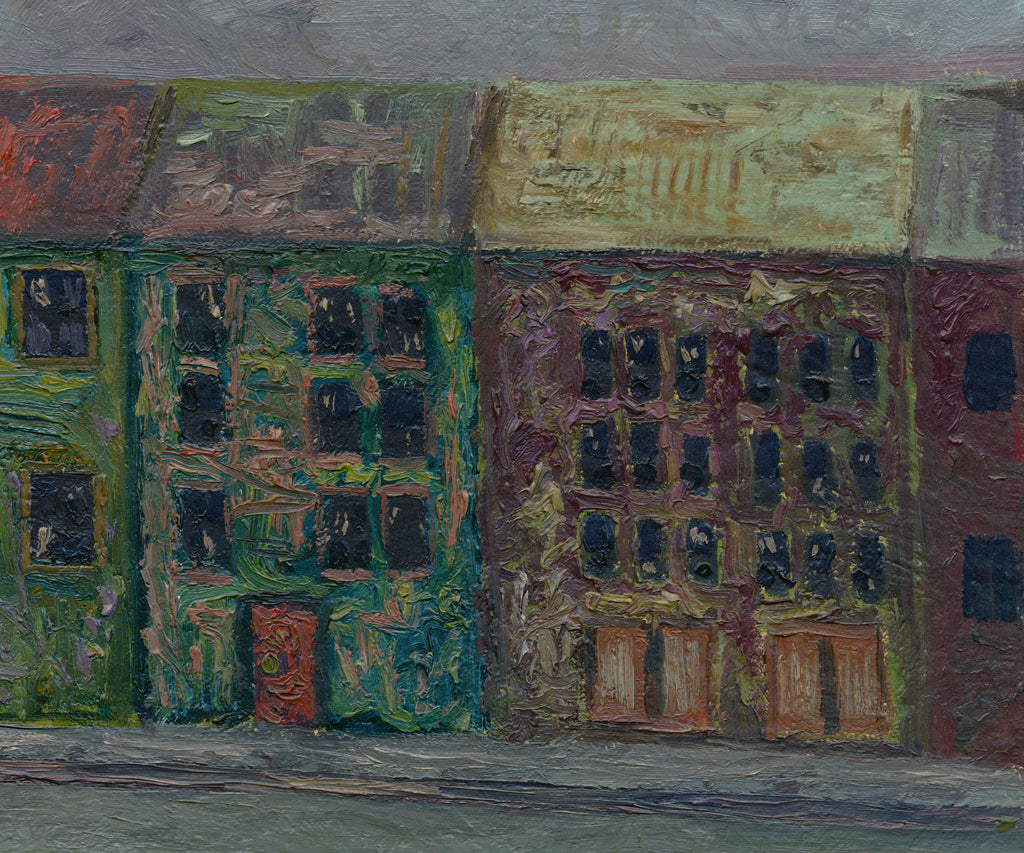 Dark Colorful Expressionistic European City Courtyard Painting Giclée Crop 3