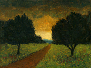 Road With Two Trees and Distant Sunset Painting Giclée Print
