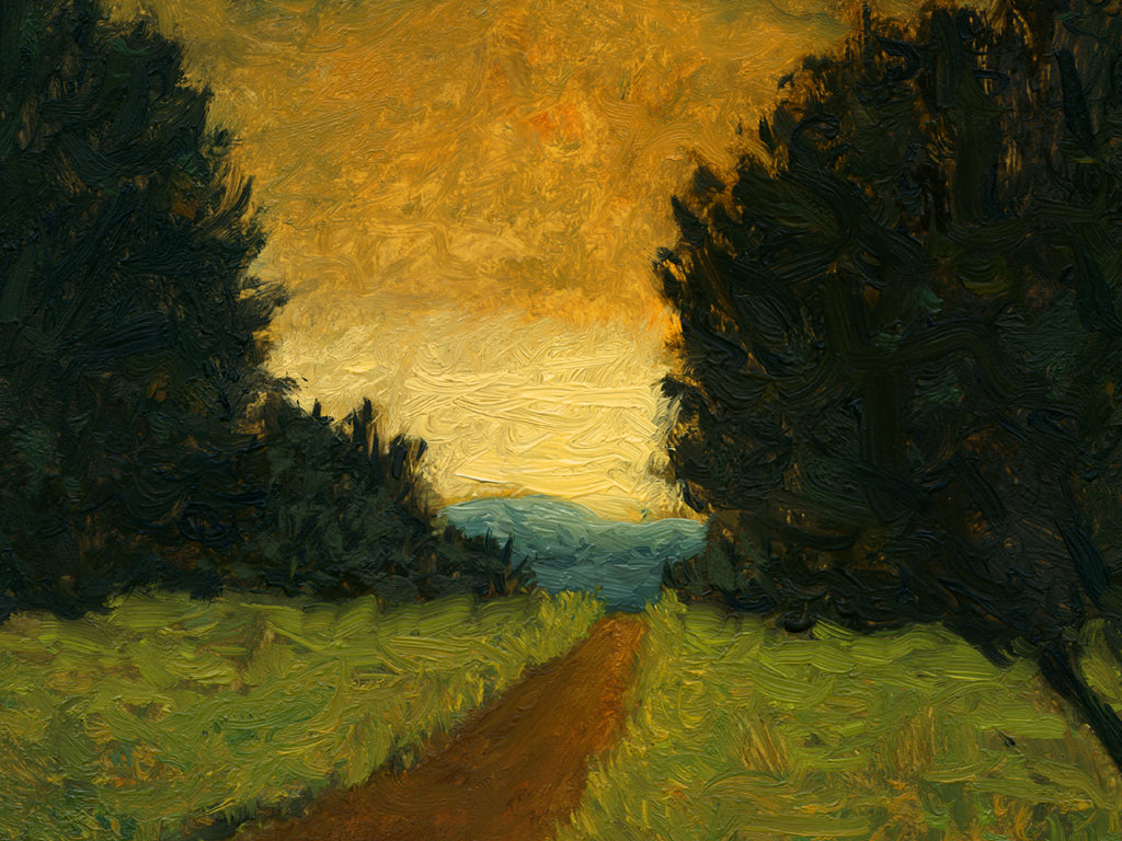 Road With Two Trees and Distant Sunset Painting Giclée Print Crop 1