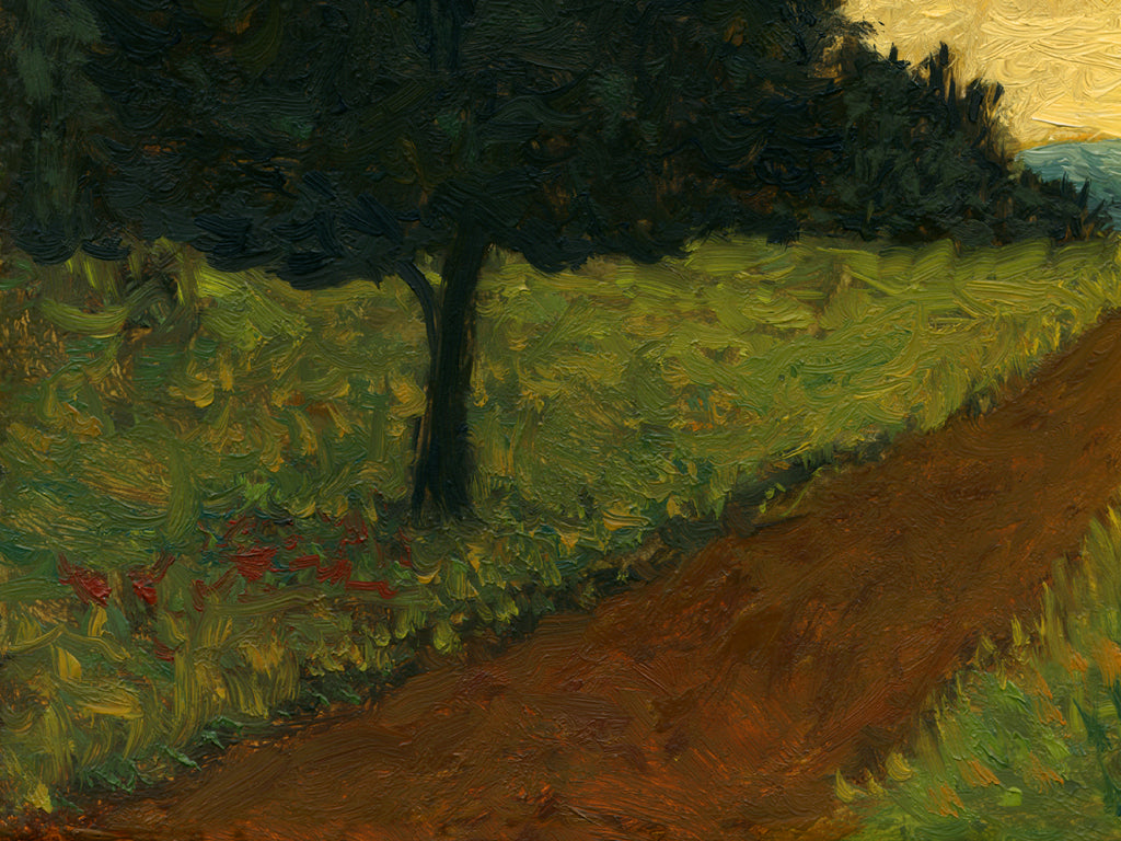 Road With Two Trees and Distant Sunset Painting Giclée Print Crop 3